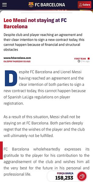 Barcelona announced the end of Lionel Messi's 18 year stay at the club with a four paragraph statement