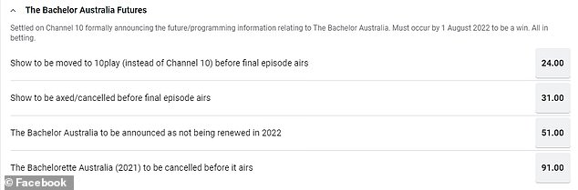 Numbers game: Sportsbet's odds on the future of the Bachelor, as of Friday morning