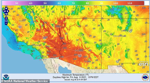 The base of the canyon, 4,000 feet below, is set to heat up to 115 degrees Fahrenheit today, which has sparked an excessive heat warning for just the Grand Canyon itself