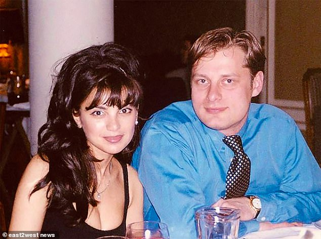 A major search is underway for Mavridi (pictured with first wife Tatyana), accused of the crossbow shooting of meat mogul Vladimir Marugov, 54, while he was in a garden sauna complex at his country home with his partner Sabina Gaziyeva, 36