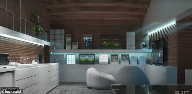 Each mission will include four crew members who will have their own sleeping quarters located on one end of the habitat and on the other side of the habitat is dedicated to workstations, medical stations and food-growing stations (pictured)