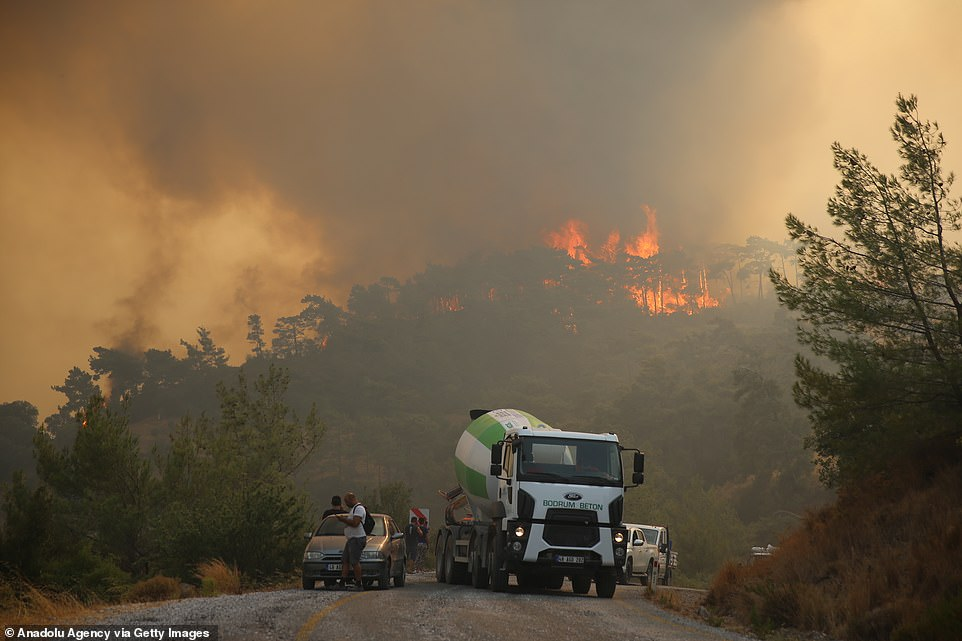 Ground and aerial fire extinguishing operations continue to contain the fire in Milas district of Mugla on August 5