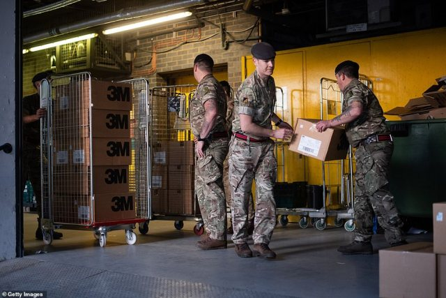 Some 2,000 HGV drivers from the Royal Logistics Corps and other regiments are reported to be on a five-day notice to help distribute food and other essential supplies, including medicine (Pictured: Army delivering medicine supplies in March last year)