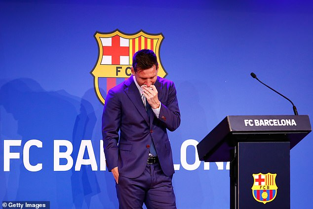 Lionel Messi could not hold back the tears as he addressed his Barcelona departure on Sunday