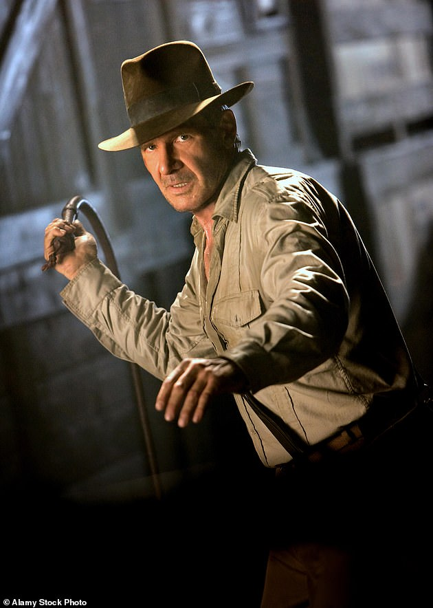 Injury: The actor has been forced to take a break from filming the upcoming Indiana Jones 5 movie for three months as he recovers from a shoulder injury sustained on set (Harrison is pictured in the last Indiana Jones film in 2008)