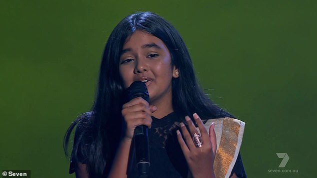 Star: Viewers crowned Janaki Easwar, 12, the 'winner' of The Voice Australia after her stirring rendition of Lovely by Billie Eilish on Monday night. Pictured