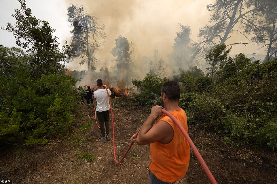 Firefighters try to extinguish the flames as local residents hold a water hose during a wildfire at Ellinika village on Evia island