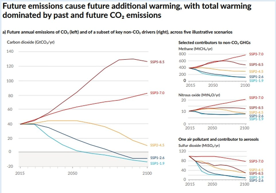 This graphic from the UN report shows scientists' prediction of future emissions including CO2, methane and nitrous oxide