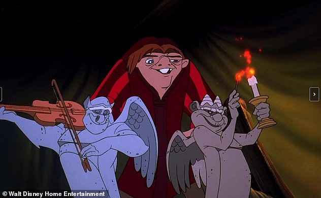 Swan song: Withers' final acting role was voicing Laverne the gargoyle (R) in Disney's The Hunchback of Notre Dame in 1996 and its direct-to-video sequel The Hunchback of Notre Dame II in 2002