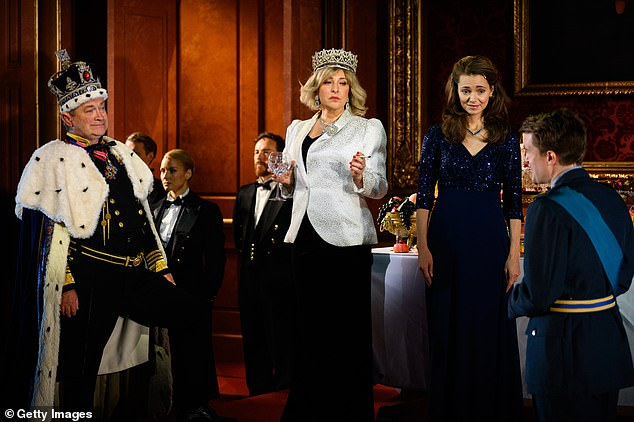 Second wife: Tracy-Ann Oberman plays Camilla in the show, seen in stills dragging on a cigarette