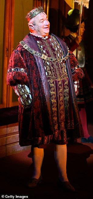 Power struggle: Comedian Harry is seen in Tudor-like garb