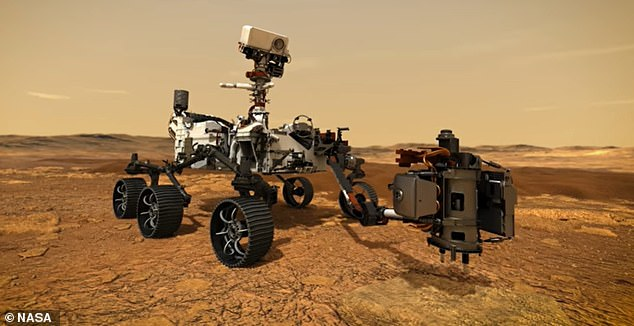 Pictured is an animation of Perseverance using its robotic arm to collect core samples from Mars