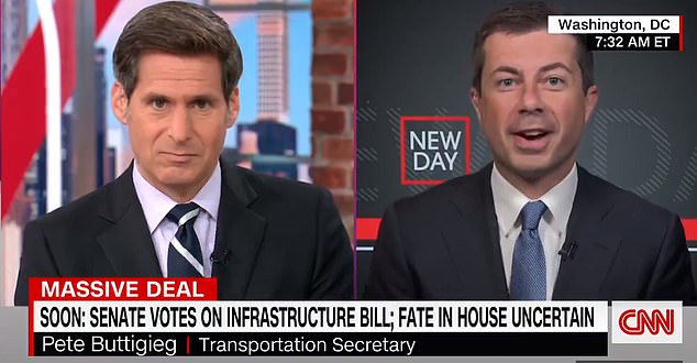 Transportation Secretary Pete Buttigieg appeared on CNN's New Day Tuesday morning and called it a 'big day' as the Senate as poised to vote on President Joe Biden's $1.2 trillion infrastructure package
