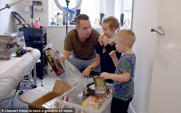 The couple ended up clearing out their playroom and selling spare toys and games online to make some extra cash