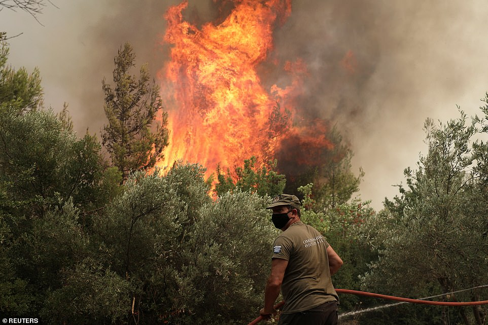 The Evia fire is one of around a dozen currently burning in Greece, which is in the midst of its worst heatwave in 30 years, but is by far the most widespread and severe