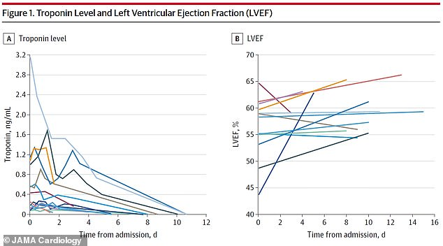 The patients arrived at the hospital with elevated troponin levels, an indicator of heart injury - but their hearts recovered significantly during short hospital stays
