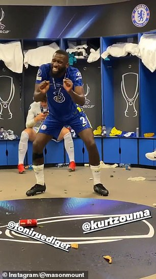 Rudiger was seen visibly revelling in the moment alongside his defensive team-mate