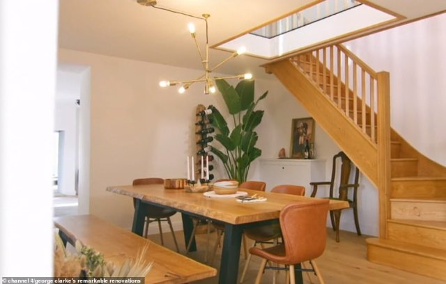 Viewers were left aghast over the build, with many suggesting the couple had 'ruined' the building (pictured, the dining room and staircase)