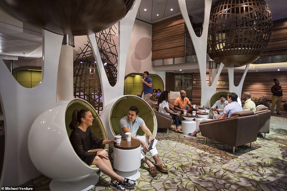 One of the ship's numerous lounges, The Hideaway, is fitted with pod armchairs