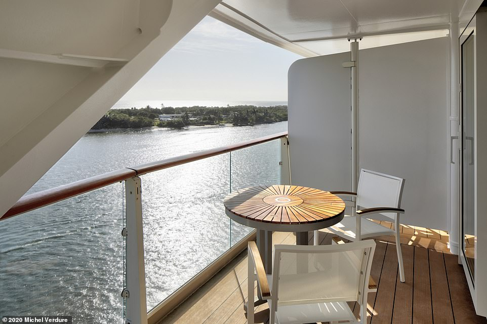 The balcony of the Sunset Suite. Occupants of the suites are also granted exclusive access to the Retreat Sundeck