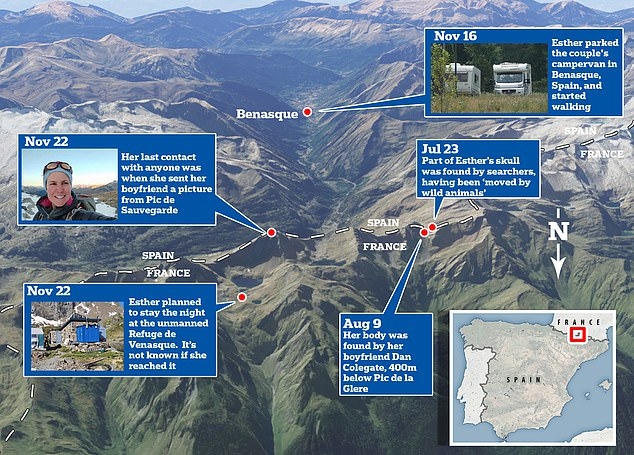 This is a map showing Esther's route from when she parked her campervan in Benasque, Spain, on November 16 to August 9 when her remains were found 437 yards (400m) from Pic de la Glere
