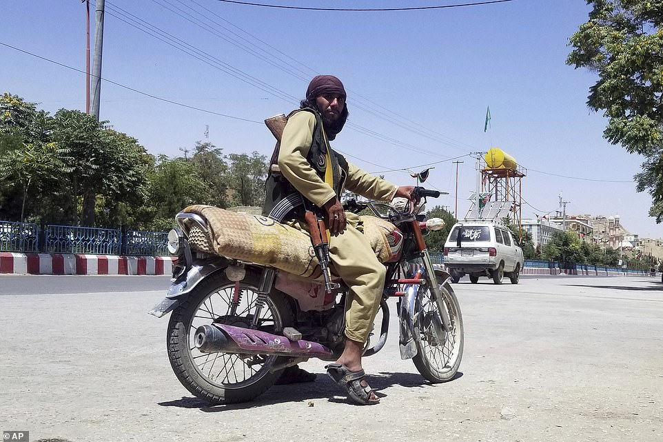 A Taliban fighter in Ghazni, Afghanistan, which was today captured by the Islamist group which is sweeping the country