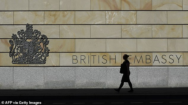 Before his arrest, Smith worked as a local hire at the British Embassy in Berlin and allegedly passed on documents he received at work to the Russians, the prosecutors said. Pictured: File image of the British Embassy in Berlin