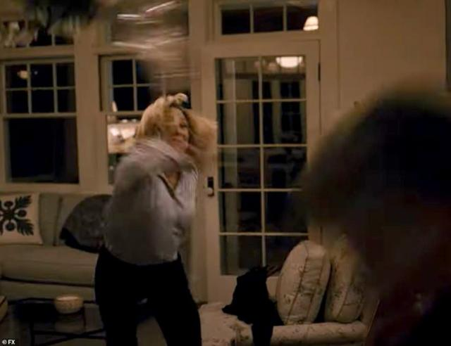Going: Falco as Hillary Clinton is seen flying into a fit of rage at Owen as Bill Clinton