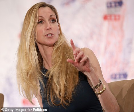 Nailed it: The How I Met Your Mother star was the spitting image of the conservative commentator; Coulter pictured in 2018