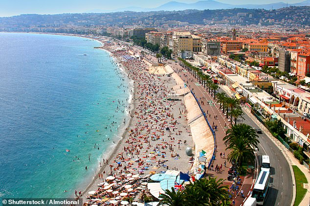 The airport in the coastal city of Nice (pictured) has also proven a popular choice among sun-starved holidaymakers
