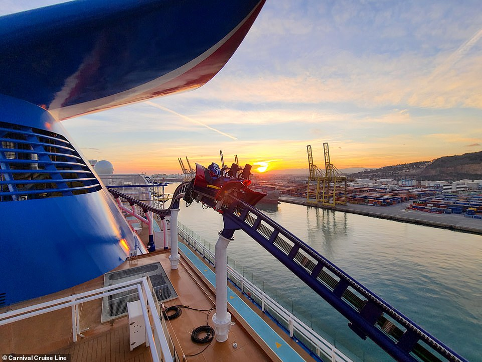 Riders can enjoy 360-degree views from the top of the cruise ship as they experience the ride