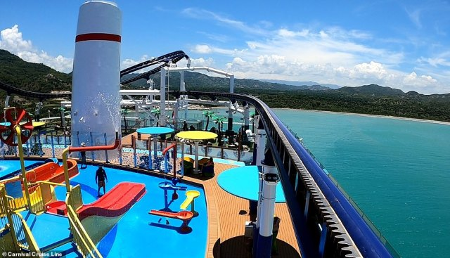 Bolt: The Ultimate Sea Coaster flies around the ship's 'Ultimate Playground' water slides