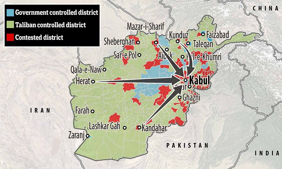 The Taliban have moved to within seven miles of Kabul, and taken over swathes of territory across the rest of Afghanistan.The warlords now control 19 of Afghanistan's 34 provinces