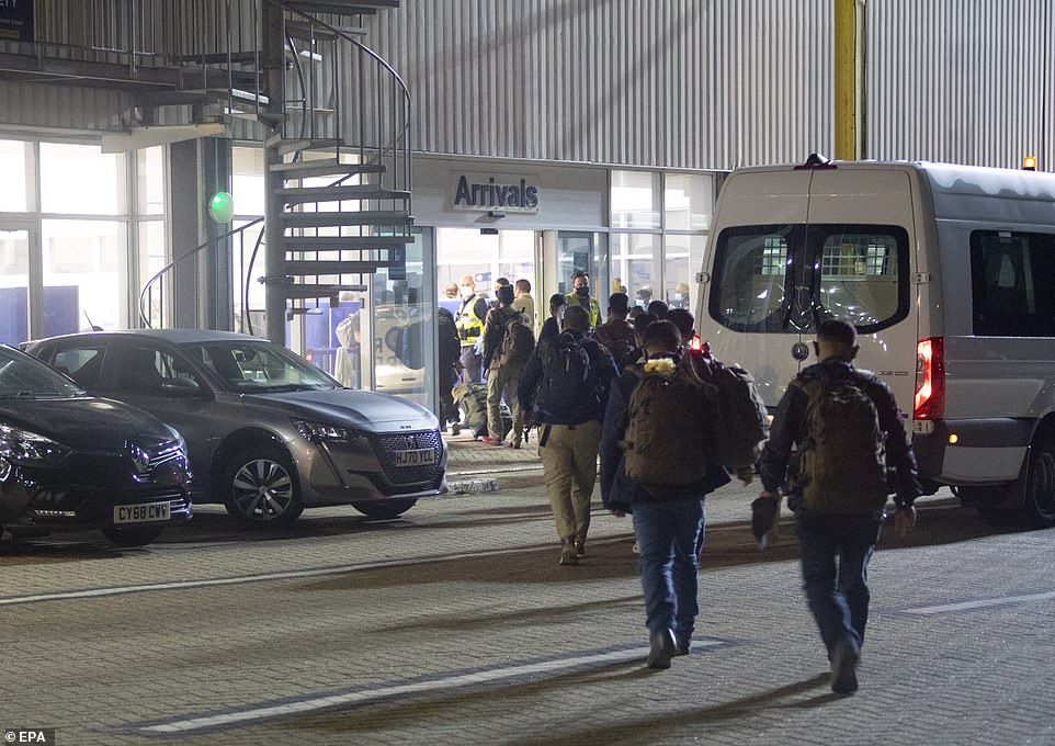 Passengers arrived in RAF base Brize Norton after an evacuation flight from Kabul following the Taliban takeover of Afghanistan