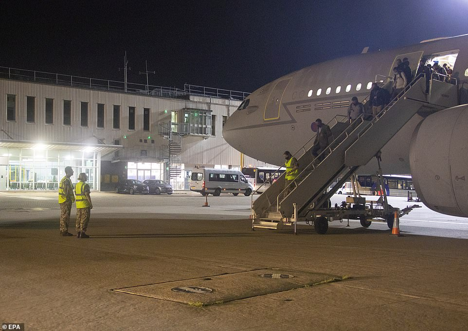 It comes as the Ministry of Defence confirmed the first British nationals had landed at RAF base Brize Norton after being evacuated from Kabul