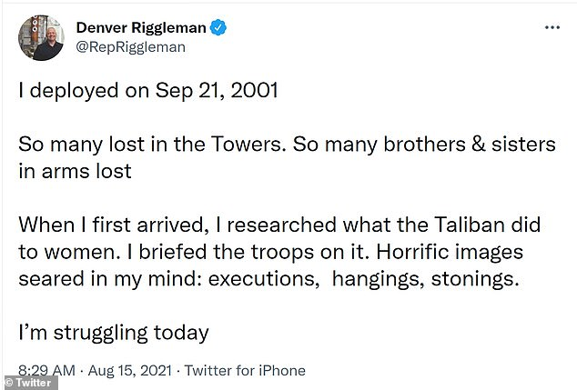 Former United States Representative Denver Riggleman, who was deployed following the September 11 attacks, said he was 'struggling' as the situation in Afghanistan unfolded