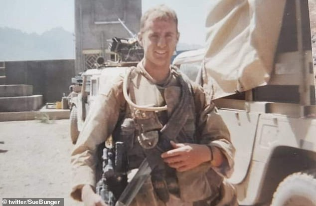 Sue Claussen Bunger shared a tribute on Twitter to her son, Erik (pictured), who served in Afghanistan and Iraq from 2002 - 2004. She said: 'Erik would be sick about what is happening to the Afghani people, but would reiterate that this was all handled wrong from the beginning'