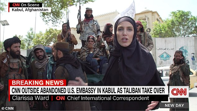 Ward was seen wearing a burka in the news segment, as Taliban fighters told her to step aside because she is a woman