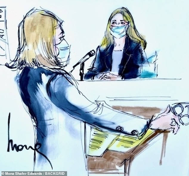 Helfend-Meyer described her client (pictured taking the stand Monday) as 'vulnerable' andthe 'perfect victim for Trevor Bauer'
