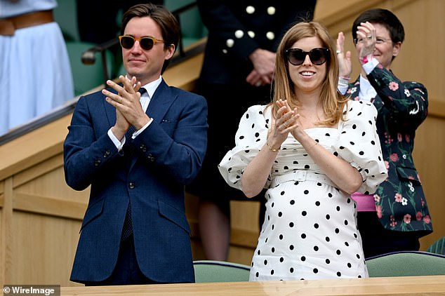 Beatrice also spoke openly about her passion to increase understanding of dyslexia and de-stigmatise any negative associations with it. Pictured: Beatrice and Edo at the Wimbledon Championships in July