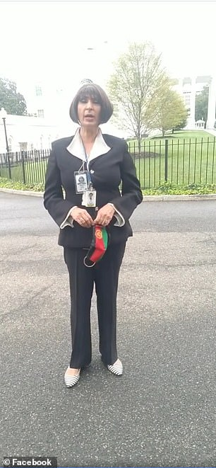 Other videos on her social media page see Karimi reporting from the grounds of the White House, right