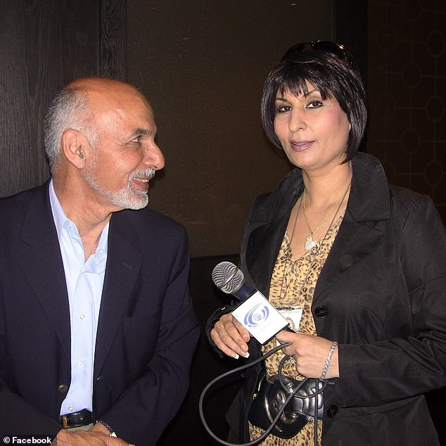 'Where is my president? Former President Ghani?' Karimi demanded to know. She is pictured with the former president Ashraf Ghani in a photo posted to Facebook