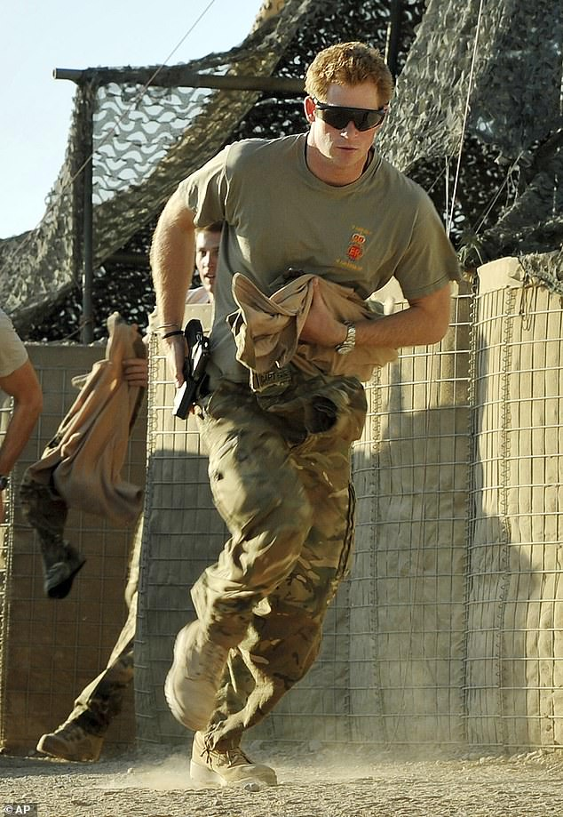Prince Harry spent 10 years in the British Army and performed two frontline tours of Afghanistan as a air controller with the Blues and Royals on the frontline in Helmand province, and as an Apache attack helicopter pilot during the two-decade Western intervention. Known as Captain Wales in the army, he is pictured in 2012 inCamp Bastion