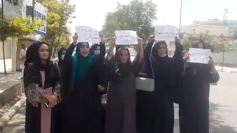 The same group of women started protesting this morning, demanding the extremist group does not 'eliminate' women from society but were not approached by Taliban fighters until the afternoon