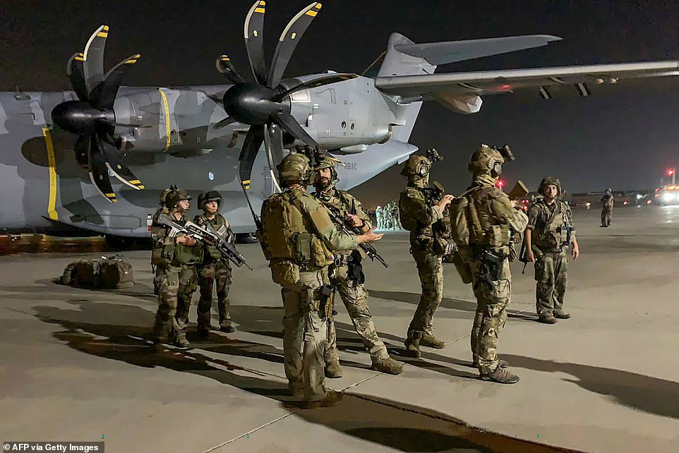 FRANCE: French soldiers at Kabul Airport in the early hours of Tuesday August 17 waiting to evacuate people