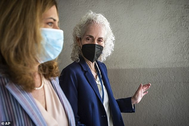 LA County Superintendent of Schools Debra Durardo, left, walked with Public Health Director Barbara Ferrer as schools reopened this week