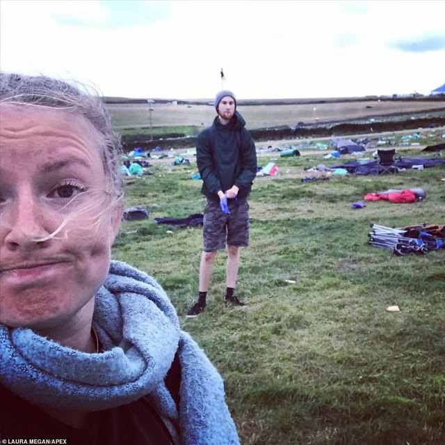 Regie Butler-Card, of Devon and Cornwall Police, slammed the irresponsible behaviour and pointed out the impact it will have on the environment. Pictured: People cleaning up the site