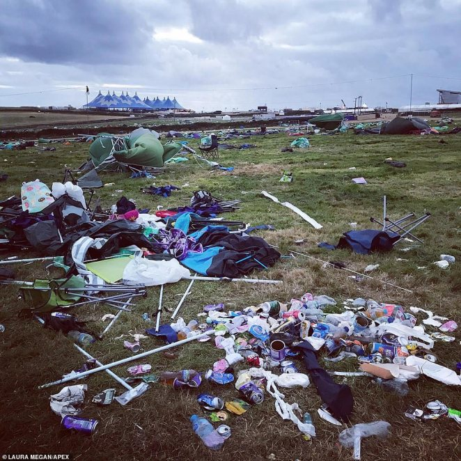 He asked them to consider how much of the waste had been 'blown wider afield' and said organisers were paying for the clean up operation