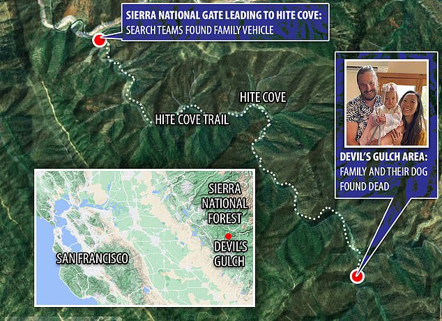 This map shows the remote are in Mariposa County, California, where the bodies were discovered on Tuesday