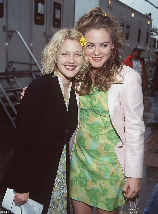 Longtime Friends: Drew was seen in this photo shared by Clueless star Alicia Silverstone this summer;  at the Nickelodeon Kids' Choice Awards in 1998, when the two had busy movie stars